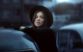 Picture look, girl, photo, hat, lips, Xenia, Dmitry Arhar