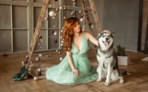 Picture dress, dog, model, redhead, floor, A Diakov George