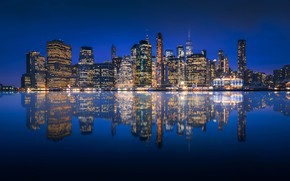 Picture water, night, lights, reflection, river, shore, building, home, New York, panorama, USA, Manhattan, skyscrapers