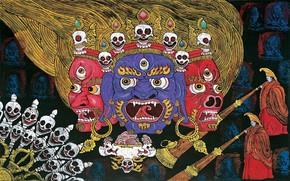 Picture welcome, fangs, skull, evil, demons, icon, deity, Tibet, прищыв, дуют в трубы, страшные рожи