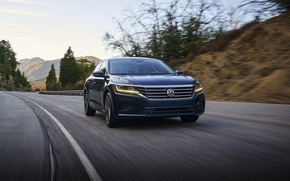 Picture blue, Volkswagen, sedan, on the road, Passat, 2020, 2019, US Version