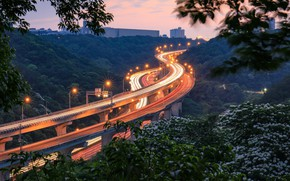 Picture trees, lights, road, Taiwan, viaduct, Taiwan, Wuyang Viaduct