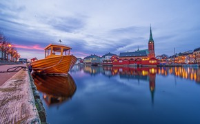 Picture lights, boat, the evening, Norway, Church, Norway, Arendal