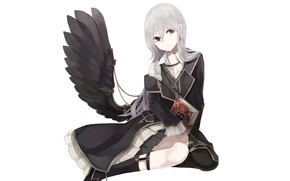Picture girl, background, wing