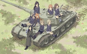 Picture girls, army, tank, Girls And Panzer, Girls and tanks