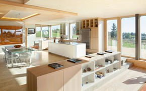Picture interior, kitchen, living room, dining room, Karuna Residence, by Holst Architecture
