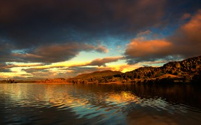 Wallpaper forest, the sky, clouds, landscape, sunset, mountains, lake, river, hills, shore, beauty, dal, the evening, ...
