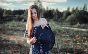 Picture look, the sun, trees, model, portrait, hat, makeup, dress, hairstyle, brown hair, beautiful, nature, posing, …