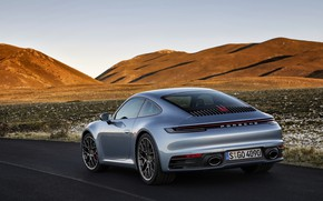 Picture the sky, mountains, coupe, 911, Porsche, back, Carrera 4S, 992, 2019