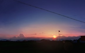 Picture the sky, the sun, sunset, home