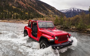 Picture water, red, stream, movement, wave, 2018, Jeep, Wrangler Rubicon