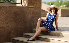Picture look, the sun, sexy, pose, model, portrait, hat, makeup, dress, hairstyle, ladder, shoes, stage, brown …