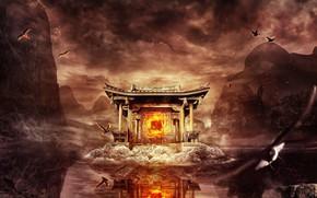 Picture mountains, fire, mystic, East, горящие птицы, сумрачное небо, храм на озере