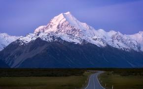 Picture road, sky, field, landscape, nature, mountain, snow, Denali, snowy peak