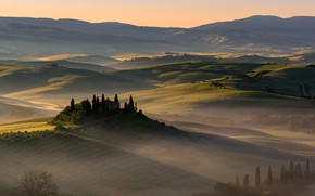 Picture summer, trees, mountains, nature, fog, house, hills, field, morning, Italy, attraction, mansion, meadows, cypress, Tuscany, …