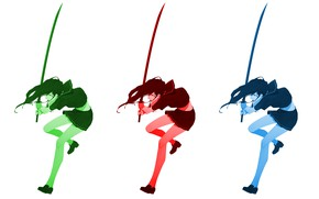 Picture girl, sword, palette