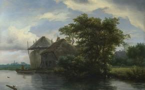 Picture landscape, picture, Jacob van Ruisdael, Jacob van Ruisdael, A cottage and a hayrick by a …