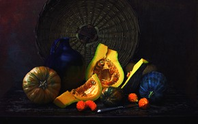 Picture the dark background, pumpkin, dishes, pitcher, still life, network, items, composition