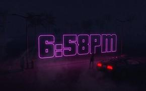 Picture Auto, Night, Music, Time, Machine, Style, Background, DeLorean DMC-12, Art, Art, 80s, Style, DeLorean, DMC-12, …