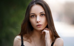 Picture look, close-up, model, portrait, makeup, hairstyle, brown hair, beauty, Anastasia, bokeh, Maxim Romanov