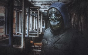 Picture retro, fiction, photo, people, texture, Disaster, hood, helmet, Mask, Chernobyl, horror, Badass, fading