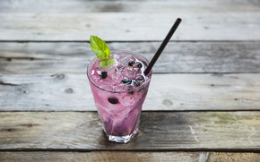 Picture ice, blueberries, cocktail, cocktail, Berry