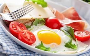 Picture eggs, plug, scrambled eggs, sandwich, vegetables, tomatoes