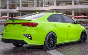Picture green, lights, tuning, back, drives, Kia, bumper, tuning, green, Kia, led lights, Kia Forte Federation