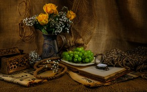 Picture flowers, network, roses, bouquet, grapes, box, book, vase, still life, items, burlap