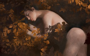 Picture Nude, dark water, in the water, closed eyes, fallen leaves, sleeping woman, by Sam Mao
