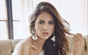 Picture look, girl, face, portrait, earrings, makeup, actress, window, Eiza Gonzalez