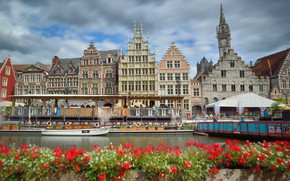 Picture flowers, home, channel, Belgium, Ghent, Graslei