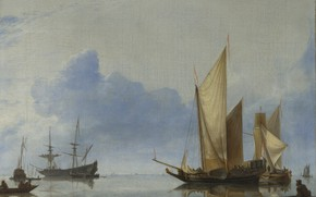 Picture sea, ship, picture, sail, Hendrick Dubbels, A Dutch Yacht and Other vessels Near the Shore
