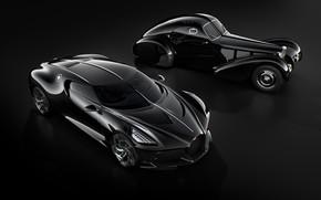 Picture machine, retro, black, Bugatti, stylish, hypercar, The Black Car