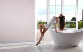 Picture girl, pose, hair, window, bath, legs, tunic, Sergey Pak