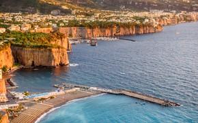 Picture sea, rocks, port, Italy, Sorrento