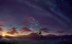 Picture girl, night, the wind, Hatsune Miku, Vocaloid, Vocaloid, long hair, Hatsune Miku