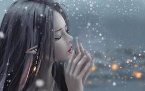 Picture girl, fantasy, snow, artist, elf, digital art, artwork, fantasy art, closed eyes, fantasy girl, pointed …