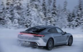 Picture snow, grey, speed, Porsche, spoiler, 2020, Taycan, Taycan 4S