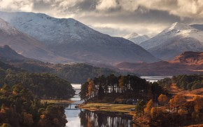Picture forest, road, river, trees, landscape, nature, bridge, mountains, clouds, snow, houses, Scotland, United Kingdom, fall