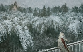 Picture winter, forest, girl, ate, art, spruce forest, Yukinoneko