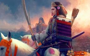 Picture katana, armor, crown, rider, samurai, Mario Wibisono, arrows, art, peak, coast, white horse, shoulders, the …