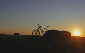 Picture grass, sky, bike, field, nature, sunset, sun, Bicycle