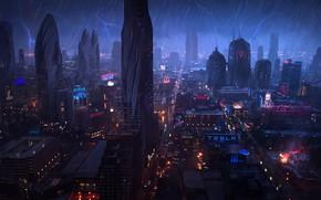 Picture The city, Neon, Lightning, Rain, Skyscrapers, Building, City, Zipper, Architecture, Art, Art, Lightning, Fiction, Rain, …