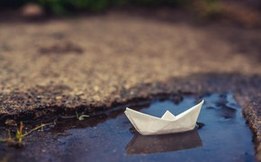 Picture background, puddle, boat