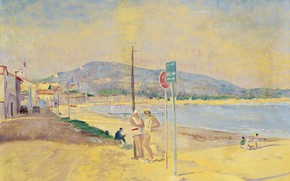 Picture landscape, picture, On The Beach, Lucien Adrion, Lucien Adrion