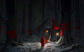 Picture Red, Winter, Trees, Snow, Forest, Art, Concept Art, Character, Environments, by Astrid Lian Aa, The …