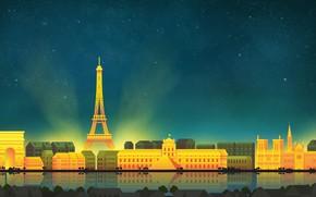Picture Paris, The sky, Minimalism, Night, The city, Paris, Art, Digital, Illustration, Game Art, by Caio …