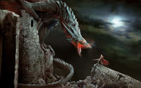 Picture the sky, girl, night, the moon, Dragon, warrior, ruins