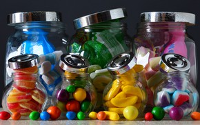 Picture bright, food, candy, banks, still life, pastry, different, dessert, pills, marmalade, composition